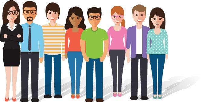 Illustration junges Team